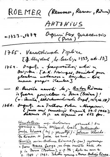 Roemer (Remmer, Remer, Römer) Antonius Organifex Gracensis (Graz)