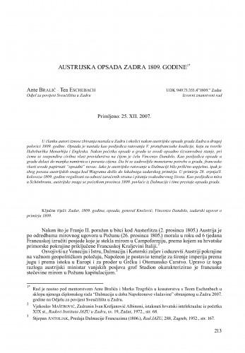 Austrijska opsada Zadra 1809. godine : Radovi Zavoda za povijesne znanosti HAZU u Zadru