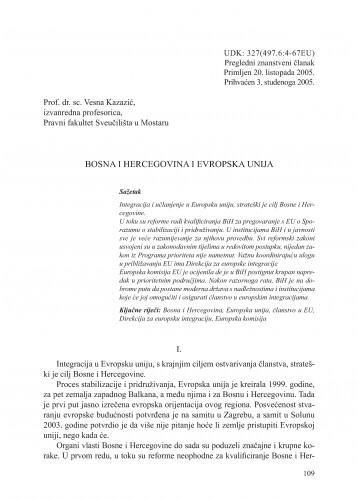 Bosna i Hercegovina i Evropska unija : Adrias : zbornik Zavoda za znanstveni i umjetnički rad Hrvatske akademije znanosti i umjetnosti u Splitu
