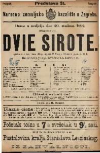 Dvie sirote Igrokaz u 4 čina (osam slika) / napisali D'Ennery i Cormon
