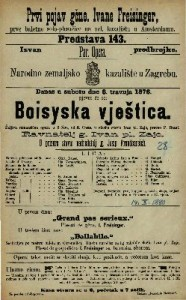 Boisyska vještica šaljiva romantična opera u 3 čina / u glasbu stavio Ivan pl. Zajc