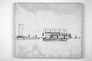 Kombinirano plivalište, Rijeka-Sušak-Delta; projekt prototipa Nacrt, uzdužni presjek