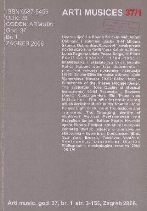 God. 37(2006), br. 1 : Arti musices