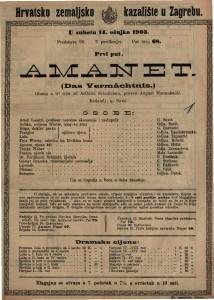 Amanet : gluma u tri čina / od Arthura Schnitzlera  =  Das Vermächtnis