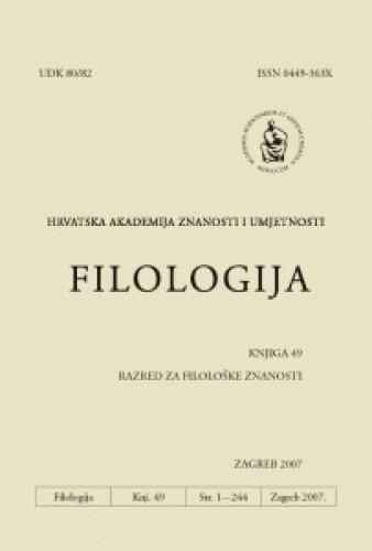 Knj. 49(2007) : Filologija : časopis Razreda za filološke znanosti Hrvatske akademije znanosti i umjetnosti
