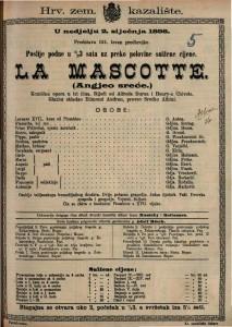 La MAscotte / Angjeo sreće Komična opera u tri čina / Glazbu skladao Edmond Audran