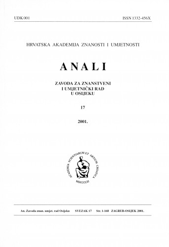 Sv. 17 (2001) : Anali Zavoda za znanstveni i umjetnički rad u Osijeku
