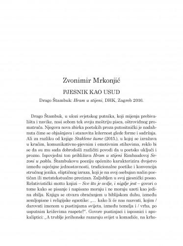Pjesnik kao usud : Drago Štambuk: Hram u stijeni, DHK, Zagreb 2016.