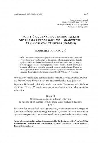 Politička cenzura u dubrovačkim novinama Crvena Hrvatska, Dubrovnik i Prava Crvena Hrvatska (1905-1914) / Barbara Đurasović