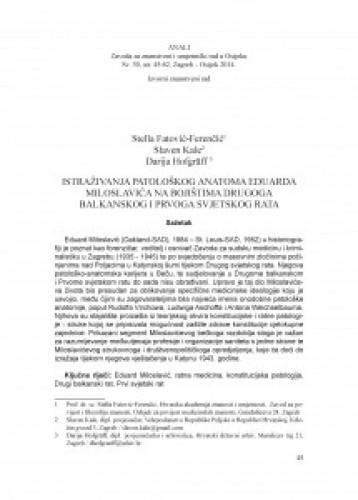Istraživanja patološkog anatoma Eduarda Miloslavića na bojištima Drugoga balkanskog i Prvoga svjetskog rata