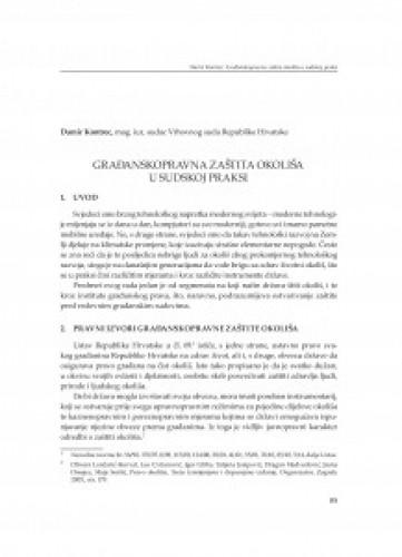 Građanskopravna zaštita okoliša u sudskoj praksi : [uvodno izlaganje]