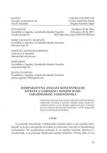 Komparativna analiza koncentracije nitrata u gornjem i donjem sloju varaždinskog vodonosnika