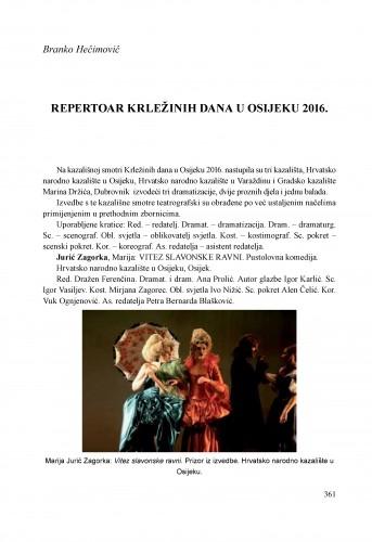 Repertoar Krležinih dana u Osijeku 2016.
