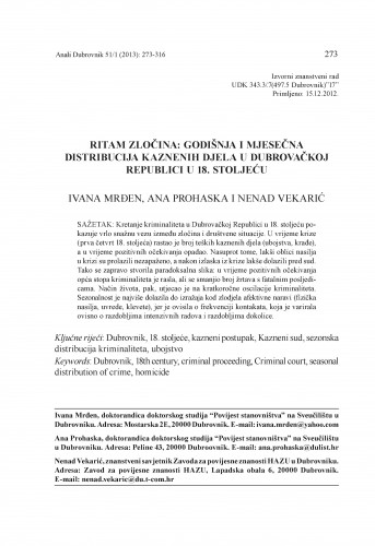 Ritam zločina: godišnja i mjesečna distribucija kaznenih djela u Dubrovačkoj Republici u 18. stoljeću