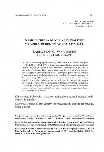 Nasilje prema djeci i kriminal mladih u Dubrovniku u 18. stoljeću / Darija Stanić, Ivana Mrđen, Rina Kralj-Brassard