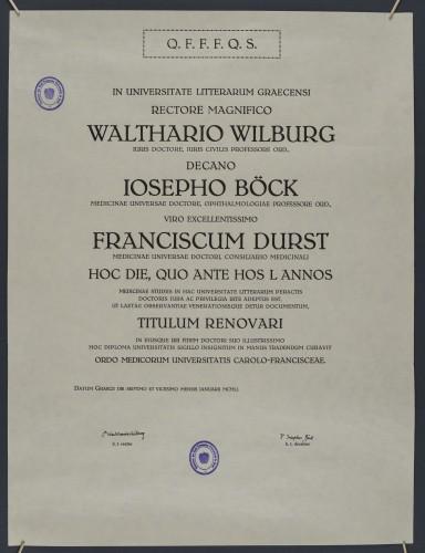Obnovljena diploma doktora medicine Franje Dursta