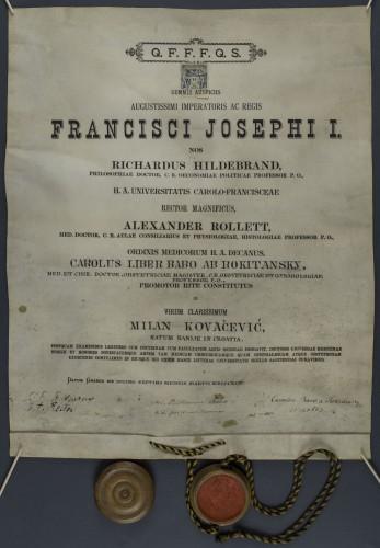 Diploma doktora medicine Milana Kovačevića