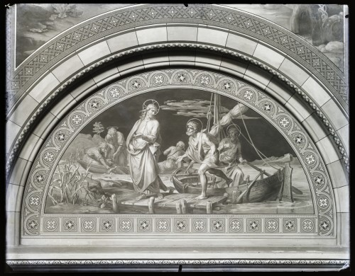 Seitz, Ludovico - Ludwig (1844) : Katedrala sv. Petra (Đakovo) : Poziv svetom Petru, freska u luneti na zidu transepta [C. Angerer & Göschl  ]