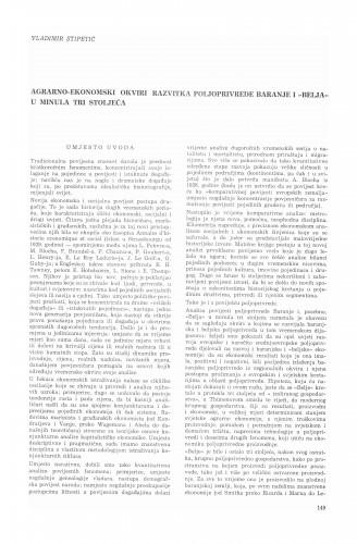 """Agrarno-ekonomski okviri razvitka poljoprivrede Baranje i """"Belja""""u minula tri stoljeća"""