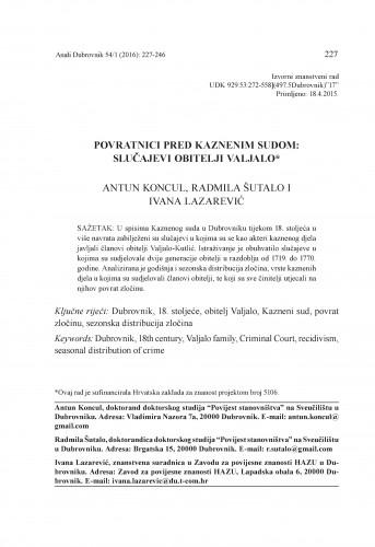 Povratnici pred Kaznenim sudom : slučajevi obitelji Valjalo / Antun Koncul, Radmila Šutalo, Ivana Lazarević