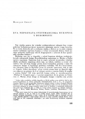Dva nepoznata svetomarijska rukopisa u Budimpešti
