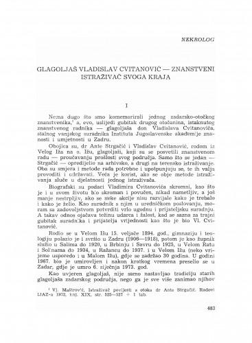 Glagoljaš Vladislav Cvitanović - znanstveni istraživač svoga kraja : nekrolog
