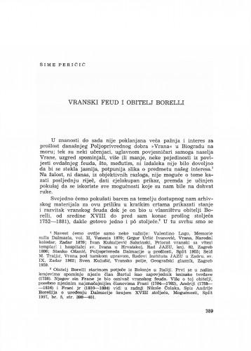 Vranski feud i obitelj Borelli