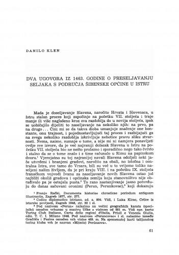 Dva ugovora iz 1463. godine o preseljavanju seljaka s područja šibenske općine u Istru