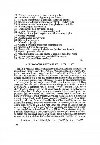 Muzikološki zavod u 1973, 1974. i 1975.