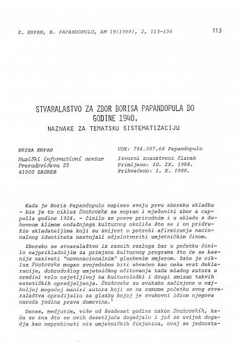 Stvaralaštvo za zbor Borisa Papandopula do godine 1940. Naznake za tematsku sistematizaciju
