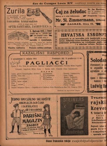 Pagliacci ; Vera Violetta Opera u dva čina sa prologom ; Opereta u jednom činu