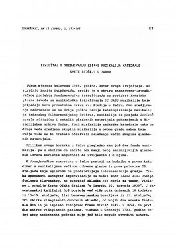 Izvještaj o sredjivanju zbirke muzikalija katedrale sv. Stošije u Zadru