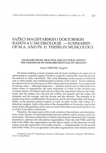 Folklore music practice and cultural policy : the paradigm of folklore festivals in Croatia