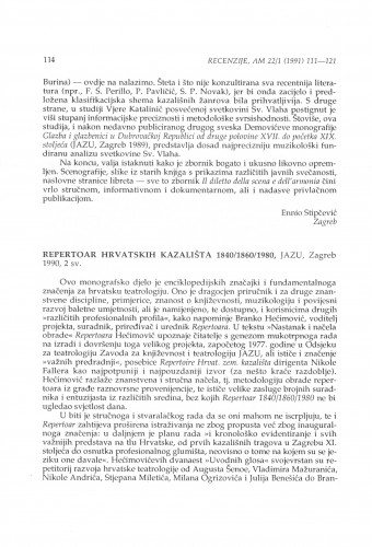 Repertoar hrvatskih kazališta 1840/1860/1980, Zagreb, 1990