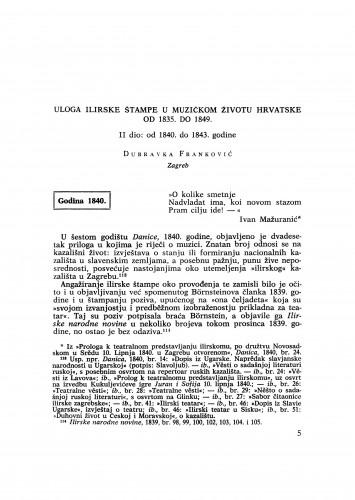 Uloga ilirske štampe u muzičkom životu Hrvatske od 1835. do 1849.: II dio : od 1840. do 1843. godine