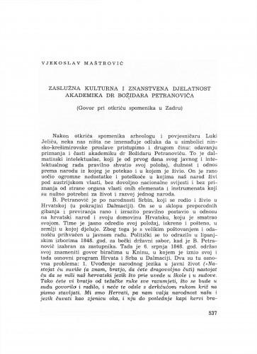 Zaslužna kulturna i znanstvena djelatnost akademika dr. Božidara Petranovića : (govor pri otkriću spomenika u Zadru)