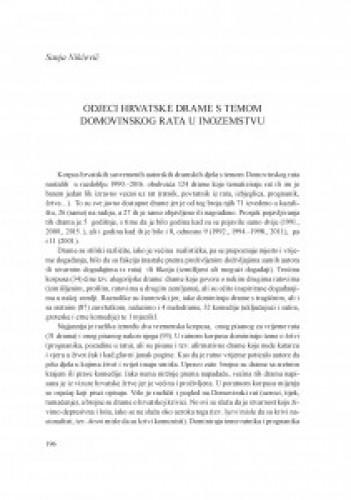 Odjeci hrvatske drame s temom Domovinskog rata u inozemstvu