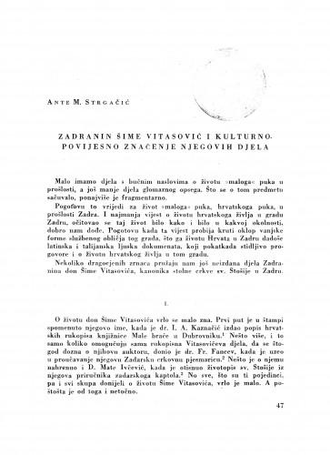 Zadranin Šime Vitasović i kulturno-povijesno značenje njegovih djela