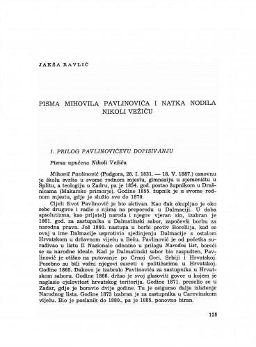 Pisma Mihovila Pavlinovića i Natka Nodila Nikoli Vežiću