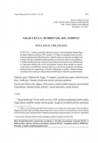 Grad i kuga : Dubrovnik 1691. godine / Rina Kralj-Brassard