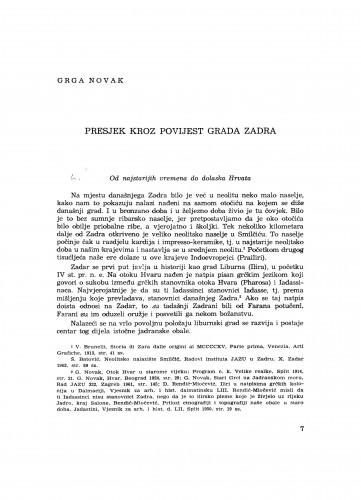 Presjek kroz povijest grada Zadra