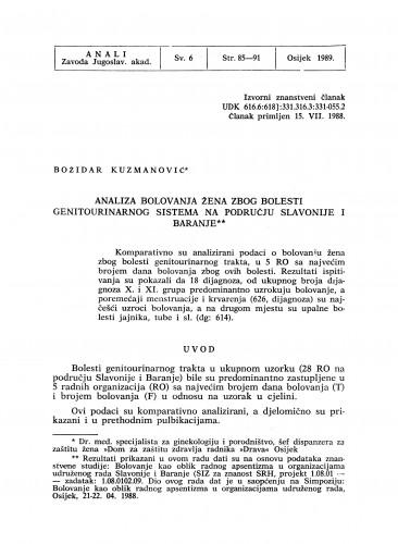 Analiza bolovanja žena zbog bolesti genitourinarnog sistema na području Slavonije i Baranje