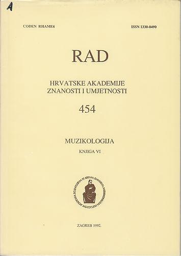 Knj. 6(1992) : muzikologija : RAD