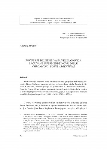 Povijesne bilješke Ivana Velikanovića sačuvane u Fermendžinovu djelu Chronicon... Bosnae Argentinae