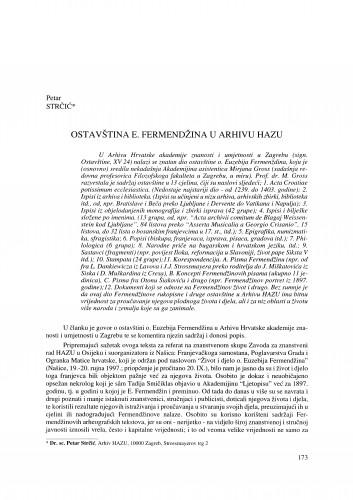 Ostavština E. Fermendžina u Arhivu HAZU