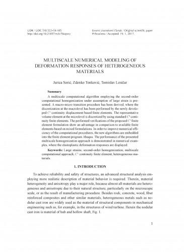 Multiscale numerical modeling of deformation responses of heterogeneous materials / Jurica Sorić, Zdenko Tonković, Tomislav Lesičar