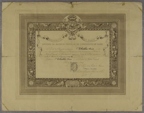 Diploma tropske medicine doktora Luje Thallera