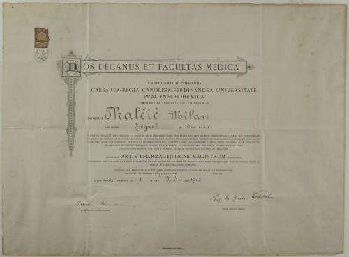Diploma magistra farmacije Milana Tkalčića