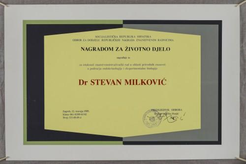 Nagrada za životno djelo dr. Stevanu Milkoviću