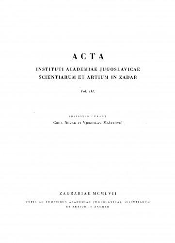 Sv. 3(1957) : Radovi Instituta Jugoslavenske akademije znanosti i umjetnosti u Zadru